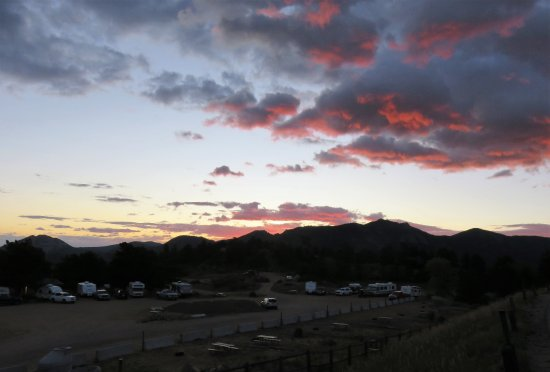 Mary's Lake Campground: Sunrise over campground.
