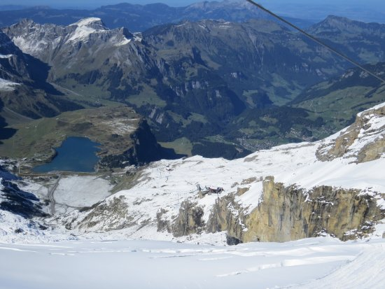 Mount Titlis: The view from the Ice Flyer. It was so smooth to ride on and not scarey at all (unless you don't