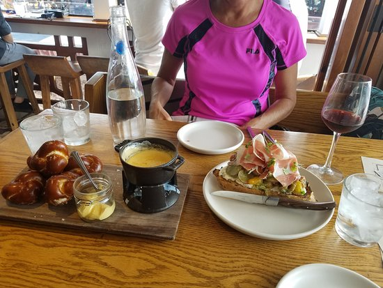 Hermosa Beach, CA: Burrata toast and pretzel knots. Both are fantastic and highly recommended