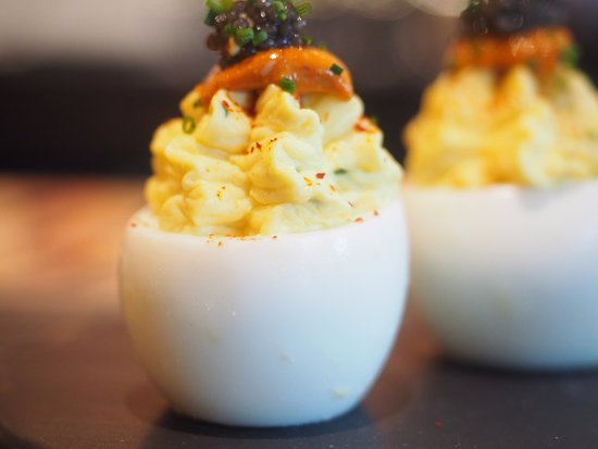 Pleasanton, CA: Santa Barbara Uni Deviled Egg with Paddlefish Caviar, Chives