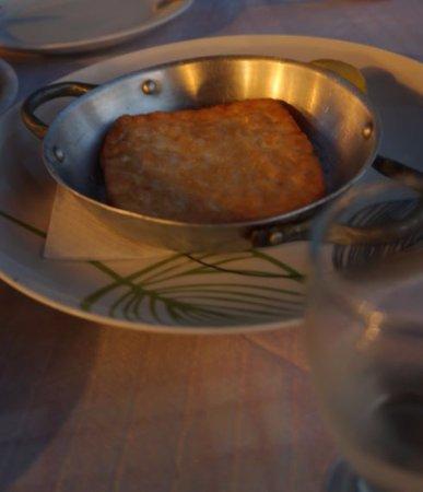 Elafonisi Resort by Kalomirakis Family: dinner at taverna - saganaki cheese