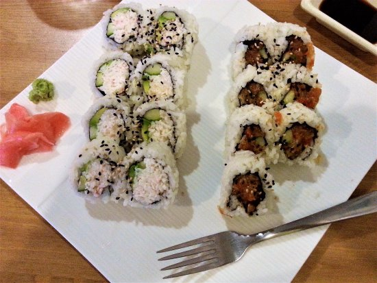 California and Spicy Tuna rolls, Haru Sushi and Grill, Armstrong, BC