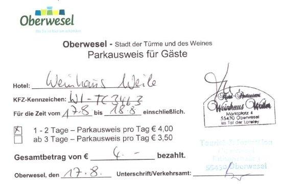 Oberwesel, Γερμανία: Parking permit