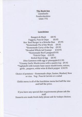 Llandissilio, UK: Lunchtime Menu