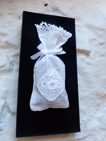 Ulster Canal Stores Tourism & Heritage Centre: Lavender Bag-Handmade pieces of Clones lace available