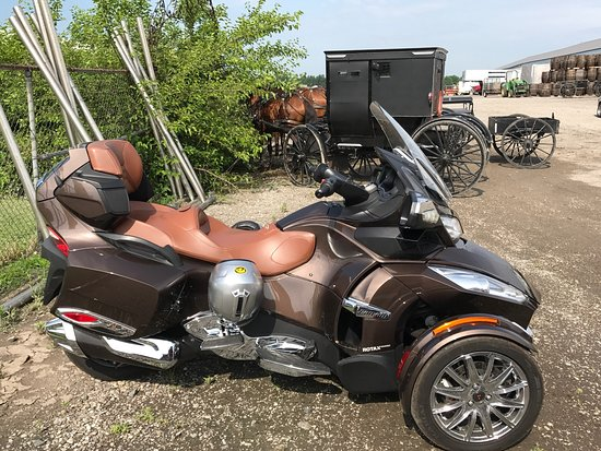Shipshewana Auction & Flea Market: Just look at this furniture!! Our Can Am alongside the horse and buggies! The small Amish childr