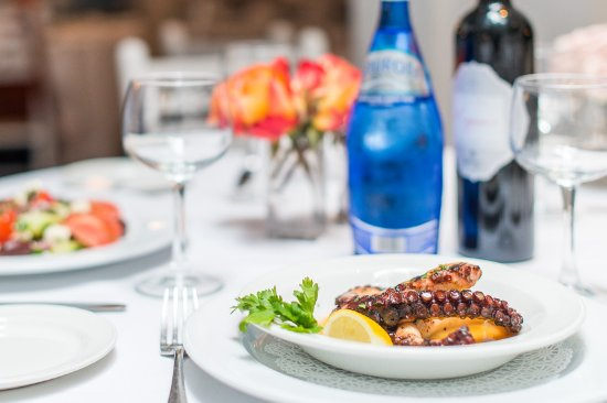 Periyali: Try one of our most famous dishes:charcoal grilled octopus marinated in red wine sauce