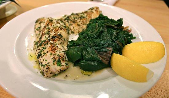 Periyali: Seabass plaki with fresh spinach