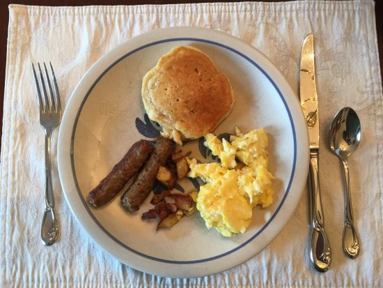 Montour Falls, NY: Just a small portion of the home-cooked breakfast items. Best scrambled eggs I've ever had!