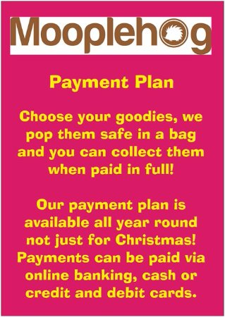 Okehampton, UK: A payment plan is not just for Christmas!