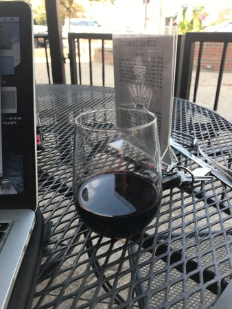 Delaware, OH: their wine glasses, and my red wine