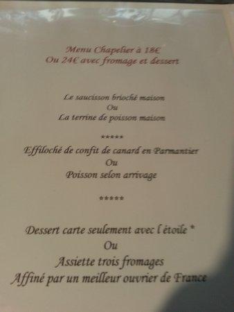 Foix, France: Le menu