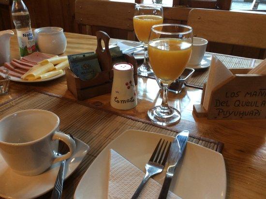 Puyuhuapi, Chile: Desayuno en hostal para huéspedes de los mañios del queulat