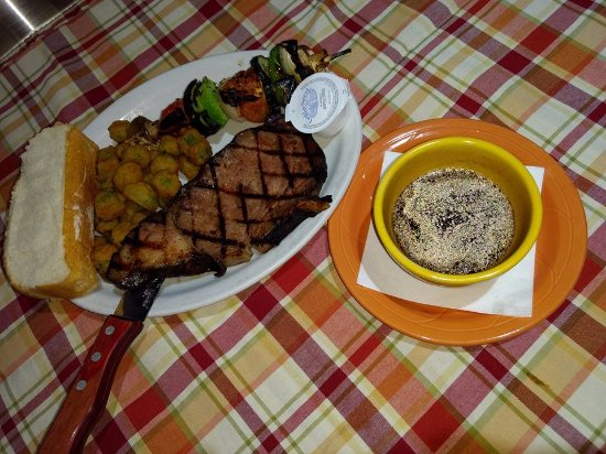 Nevada, MO: Our prime rib is famous. Here with okra, veggie skewer and our secret au jus!