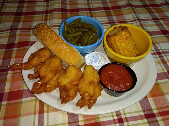 Nevada, MO: How about some fried jumbo shrimp, corn and famous green beans?