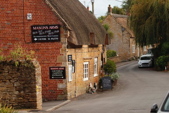 Odcombe, UK: The quirky front of The Masons Arms