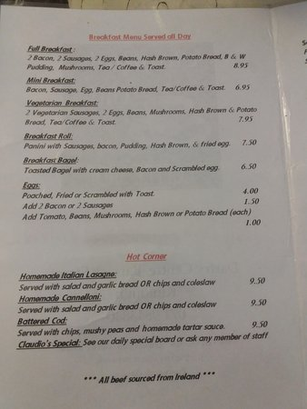 Kinlough, Irland: Claudio's menu 1