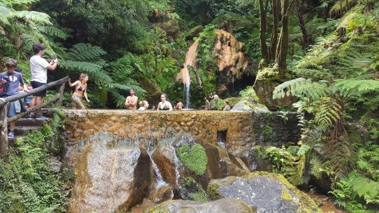 Ribeira Grande, Portugal: hot spring with waterfall