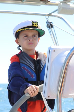 Central Coast Sailing Charters: Skipper Evan taking his role seriously