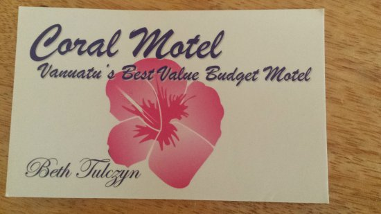 ‪‪Coral Motel & Apartments‬: Business card (front)‬
