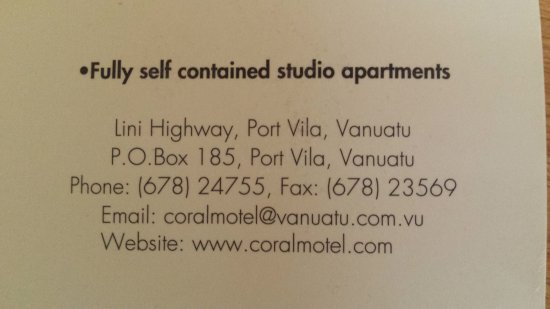 Coral Motel & Apartments: Business card (back)