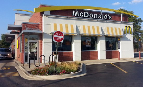 Addison, IL: front of, entrance & drive-thru exit at McDonald's