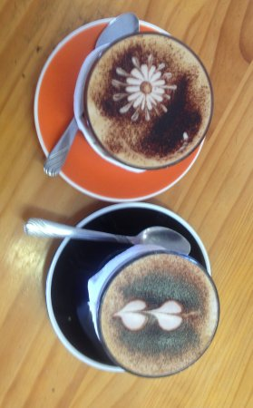 Huntly, New Zealand: coffee designs, very well done
