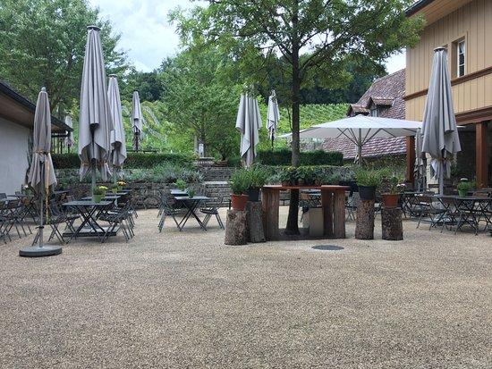 Erlach, สวิตเซอร์แลนด์: Innenhof mit Rebbergen im Hintergrund