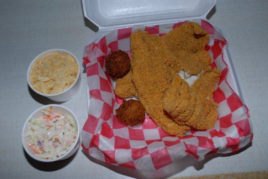 Jasper, AR: I had their 3 piece fried catfish special! 3 big pieces of catfish, hush puppies, mac/ cheese, c