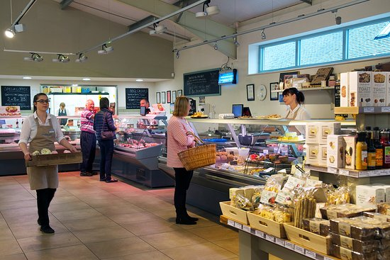Denstone, UK: Butchery and Deli counters selling own and local produce.