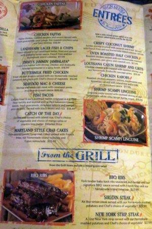 entree menu page - Picture of Margaritaville Nashville