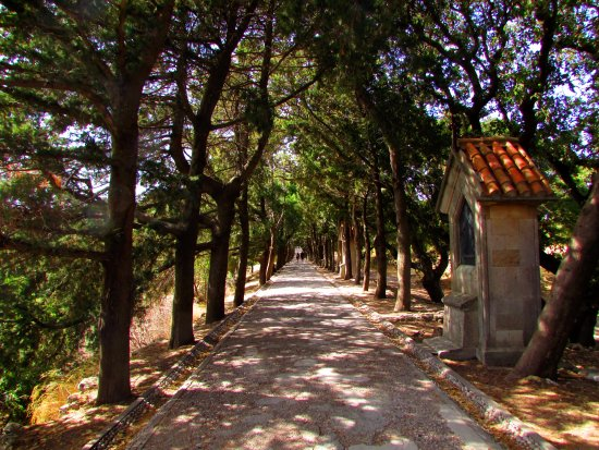 Filerimos, Greece: 'Road to Calvary' - walkway to the cross/hill summit