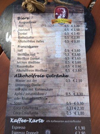 Altenau, Tyskland: Speisekarte täglich