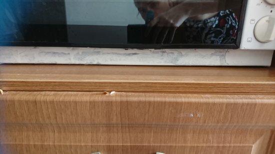 Lido Sofia Apartments: Foto's van bed, oude kastjes met gebreken, dode wespen, vuile en kleine badkamer, vieze toiletbo