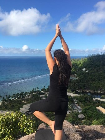 Kempinski Seychelles Resort Yoga Lesson View From The Top Of Hill Behind