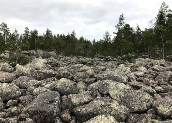 Pello, فنلندا: Jaipaljukka hiking trail in Pello in Lapland Finland. Rock formation from ice age.