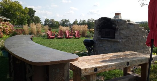 Kawartha Lakes, Canada: Pizza oven and outdoor refreshment area