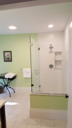 The oversized, private en suite bathroom in the Castine room will pamper you for your special vi
