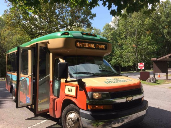 Gatlinburg Trolley: Tan loop to Smoky Mountains sugar land visitors center and Elkmont