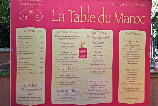 Restaurant La Table Du Maroc A Saintes