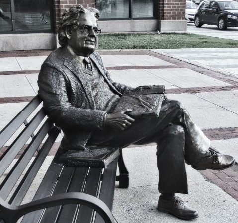 Northrop Frye welcomes visitors to the Moncton Public Library.