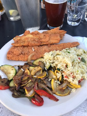 Jacksonville, NC: Fried flounder with sautéed vegetables & rice pilaf