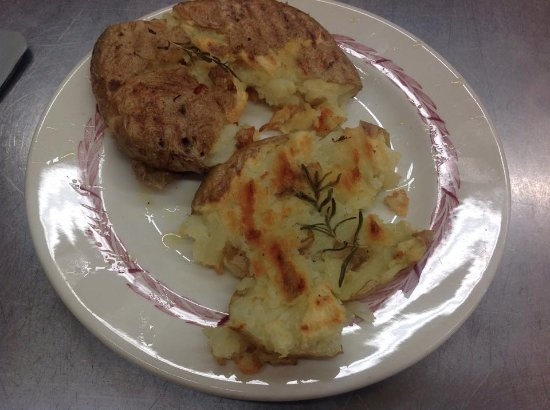 Napoleon, OH : Smashed potato.  with olive oil, rosemary grilled after baking to add a nice crispy layer!
