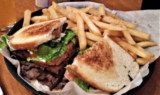 Scotia, NY: Martini Melt - roast beef, bacon, Swiss, lettuce, tomato & horseradish mayo.