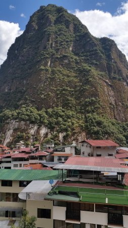 "Taypikala Hotel Machupicchu : view of backside of ""Happy Mountain"" from the 5th floor."