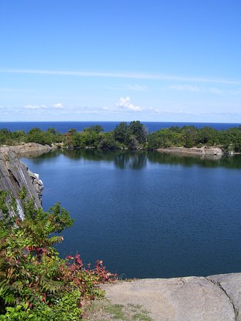 Rockport, MA: The quarry with ocean in distance.