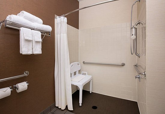 The Woodlands, TX: Accessible Guest Bathroom Roll-In Shower