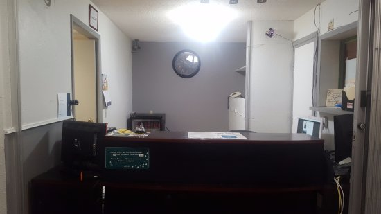 Blairmore, Canada: New Paint at the Reception desk! Next step will be a new desk.