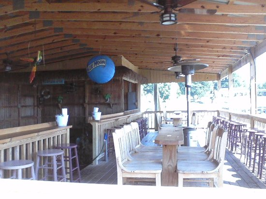 Kuttawa, KY: Stage for the live music venue and seating area.