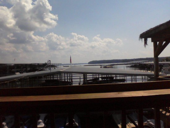 Kuttawa, KY: View of the harbor from our table in the open air dinning area.